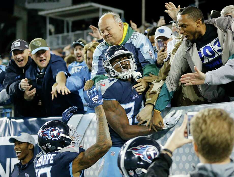 Tennessee Titans wide receiver Corey Davis (84) celebrates after scoring a touchdown on an 11-yard pass against the New York Jets in the fourth quarter of an NFL football game Sunday, Dec. 2, 2018, in Nashville, Tenn. The touchdown gave the Titans a 26-22 win. (AP Photo/James Kenney) Photo: James Kenney / Copyright 2018 The Associated Press. All rights reserved