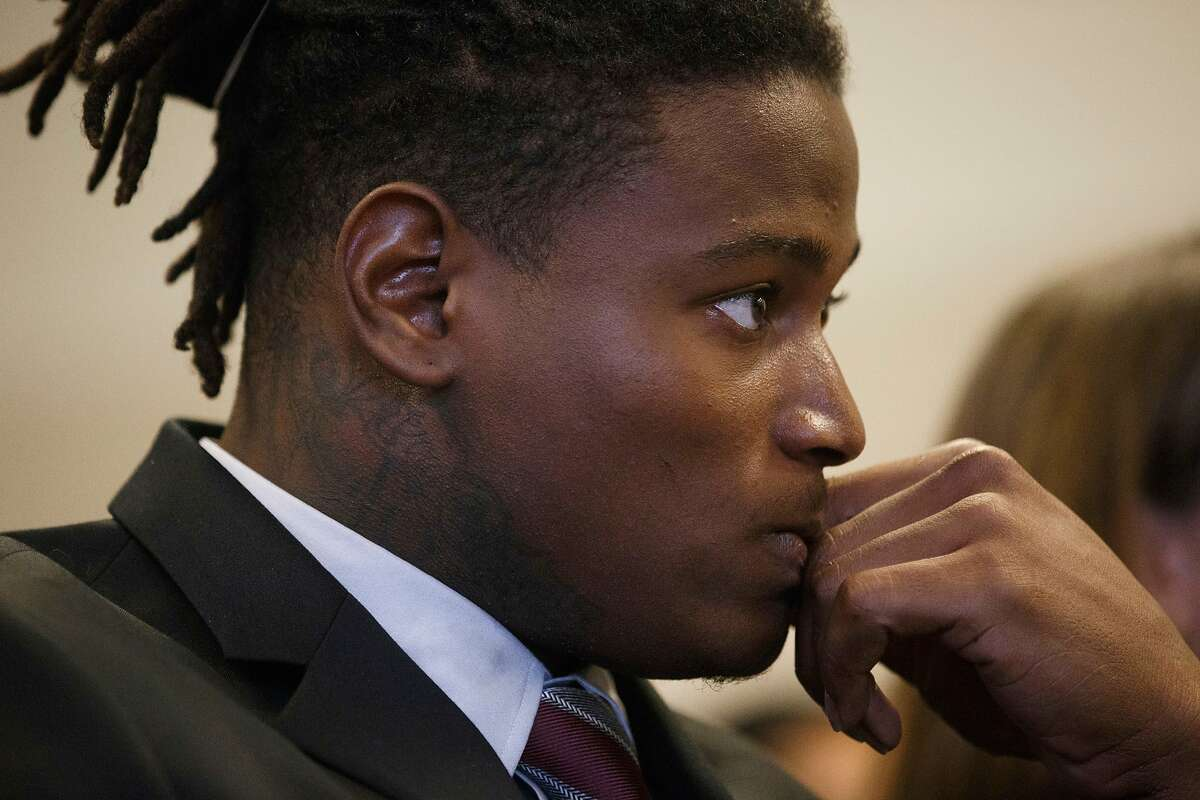 FILE -In this April 12, 2018 photo, San Francisco 49ers linebacker Reuben Foster appears for his arraignment at the Santa Clara County Hall of Justice in San Jose, Calif. Foster won't participate in the offseason program while he tends to legal matters related to his domestic violence charges. The 49ers said in a statement Sunday, April 15, 2018 that his future with the team will be