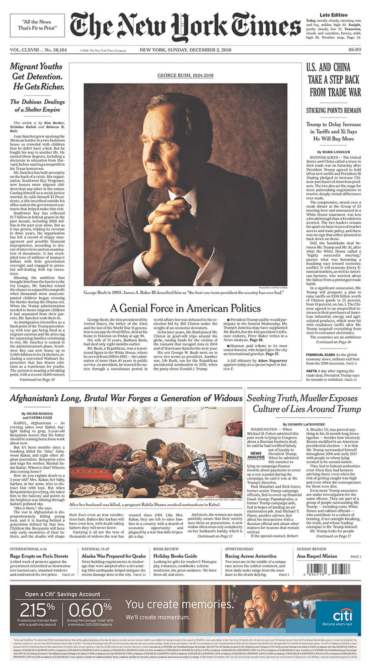 The front page of The New York Times, Sunday, Dec. 2, 2018 in Houston.