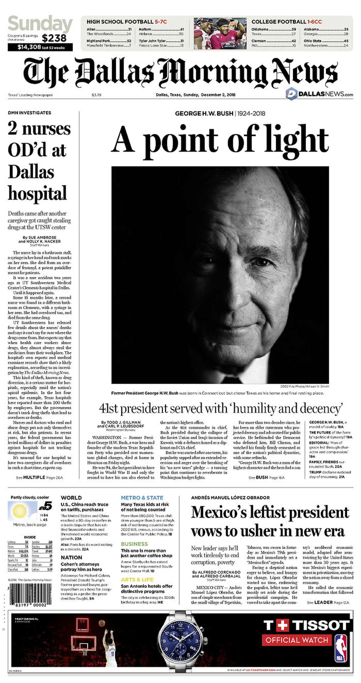 The front page of The Dallas Morning News, Sunday, Dec. 2, 2018 in Houston.