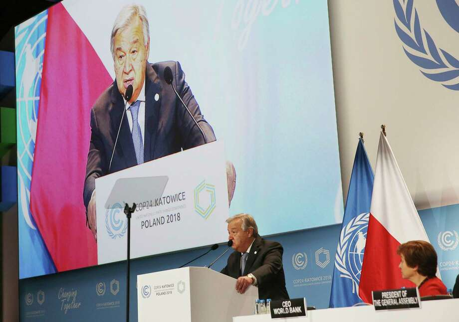 UN Secretary General Antonio Guterres delivers a speech WLduring the opening of COP24 UN Climate Change Conference 2018 in Katowice, Poland, Monday, Dec. 3, 2018. Photo: Czarek Sokolowski, AP / Copyright 2018 The Associated Press. All rights reserved.