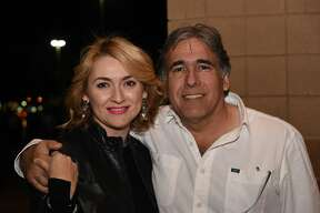 Yara and Ernesto Vela pose for a photo during the Caifanes concert.
