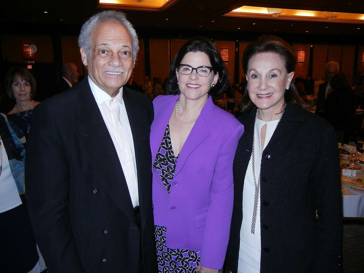 Radio host Ray Taliaferro (left) and Judge Katherine Feinstein with Compassion & Choices Luncheon co-chair Lucie Weissman at the St. Francis Hotel. April 2014. By Catherine Bigelow.
