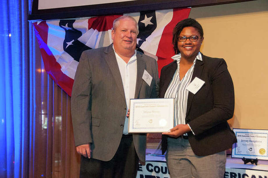 SIUE senior Yelana Moton gets presented with a 2018 Concrete Council Scholarship at an awards dinner held Thursday, Nov. 1. Photo: For The Intelligencer