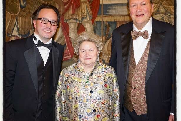 SF Opera General Director Matthew Shilvock (left) with Crescendo honorees Cynthia Fry Gunn and her husband, Opera Board chairman John Gunn, at An Evening on the Stage. Nov. 28, 2018.