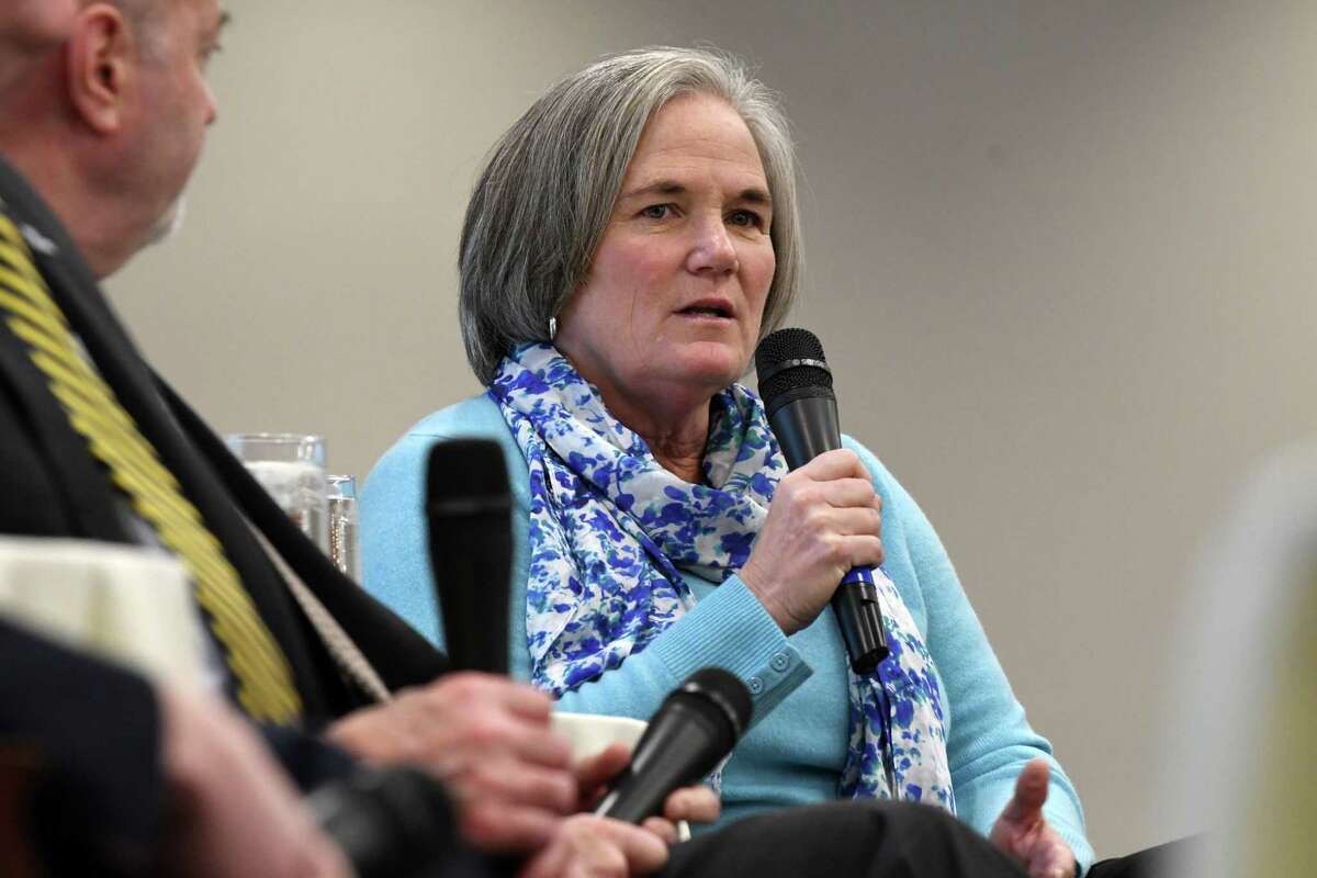 Mayor Meg Kelly of Saratoga Springs speaks during a forum with Capital Region mayors to discuss the challenges facing their cities and the nation's urban centers on Monday, Dec. 3, 2018, at the Hearst Media Center in Colonie, N.Y. (Will Waldron/Times Union)