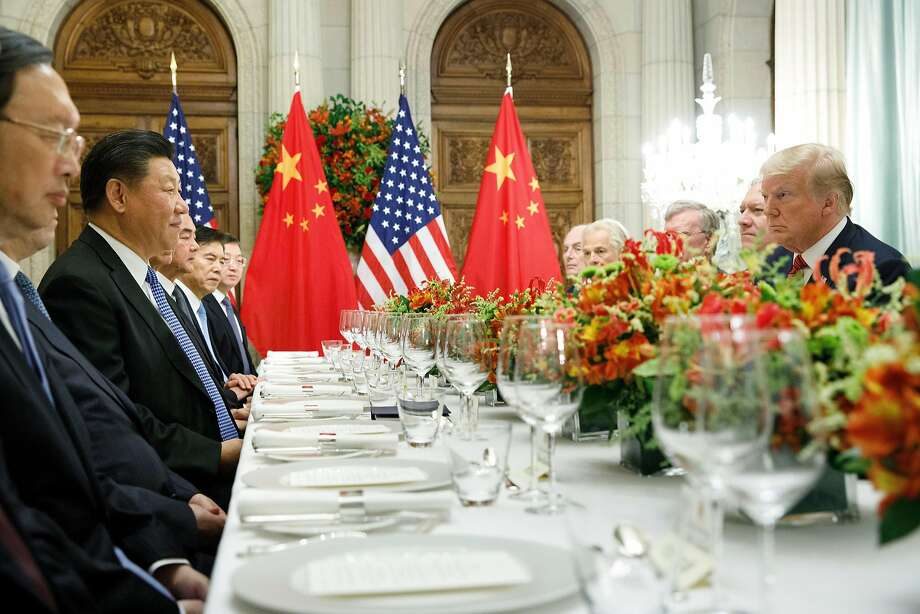 President Donald Trump at a bilateral dinner meeting with President Xi Jinping of China during the Group of 20 summit at the Hyatt Palace Hotel in Buenos Aires, Argentina, Dec. 1, 2018. Trump and Xi agreed to pause the trade war between the world's two largest economies for 90 days, but no concrete commitments were made. (Tom Brenner/The New York Times) Photo: TOM BRENNER, NYT