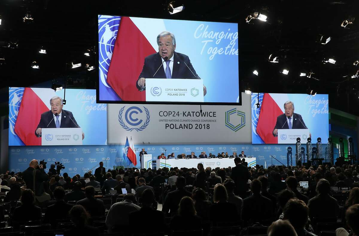KATOWICE, POLAND - DECEMBER 03: Antonio Guterres, Secretary-General of the Untied Nations, speaks at the opening ceremony of the COP 24 United Nations climate change conference on December 03, 2018 in Katowice, Poland. The two -week conference is taking place in the wake of recent scientific reports that point to an even more dire situation of global warming and its consequences. (Photo by Sean Gallup/Getty Images)