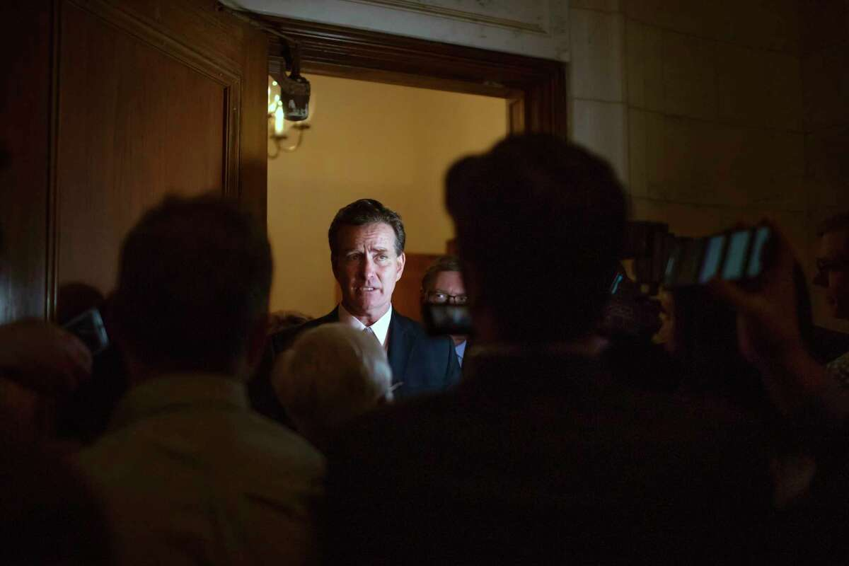 New York State Sen. John Flanagan, a Republican, speaks to reporters at the Capitol in Albany on Nov. 16, 2018. Flanagan will remain atop the party's conference after withstanding a leadership challenge.