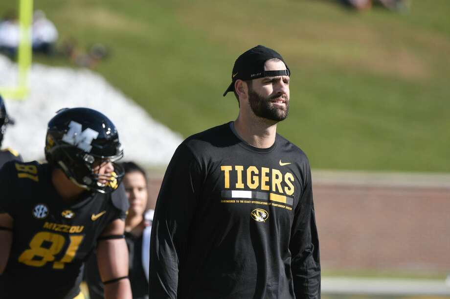 COLUMBIA, MO - OCTOBER 21: Joe Jon Finley tight ends coach for the Missouri Tigers watches players during warm up prior to a game against the Idaho Vandals at Memorial Stadium on October 21, 2017 in Columbia, Missouri. (Photo by Ed Zurga/Getty Images) Photo: Ed Zurga/Getty Images
