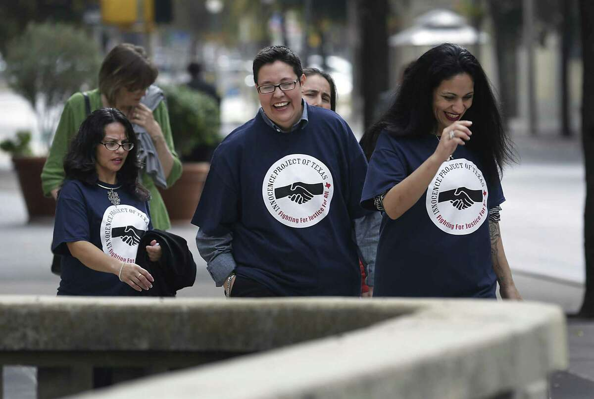 """Elizabeth Ramirez, Kristie Mayhugh, Anna Vasquez, and Cassandra Rivera, walk to lunch after the women known as the """"San Antonio 4"""" held a news conference with their lawyers in November 2013. The four women who were imprisoned for sexually assaulting two girls in 1994 said Wednesday that they want to re-introduce themselves now that their convictions stand to be overturned. They were exonerated in 2016 and on Monday, state District Judge Catherine Torres-Stahl announced their records had been expunged."""