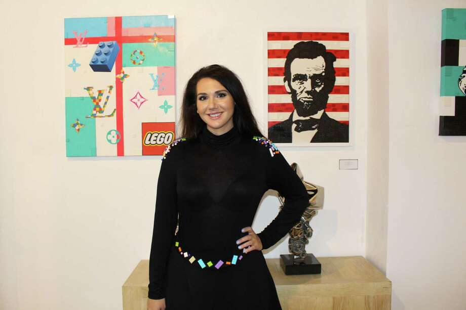 Artist Jessica Ewud of Redding is showing her popular LEGO artwork at VW Contemporary in central Greenwich. Photo: Contributed /