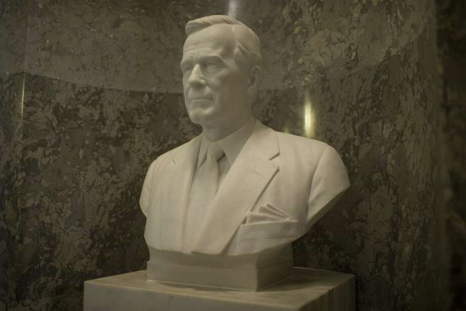 WASHINGTON, DC - DECEMBER 03: A bust of former U.S. President George H.W. Bush is pictured at the U.S. Capitol Building on December 3, 2018 in Washington, DC. A WWII combat veteran, Bush served as a member of Congress from Texas, ambassador to the United Nations, director of the CIA, vice president and 41st president of the United States. A state funeral for Bush will be held in Washington over the next three days, beginning with him lying in state in the U.S. Capitol Rotunda until Wednesday morning. (Photo by Zach Gibson/Getty Images) Photo: Zach Gibson, Stringer / Getty Images / 2018 Getty Images