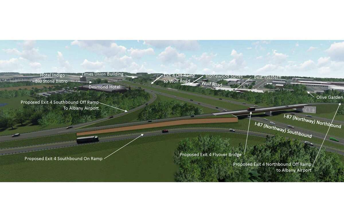 Rendering of new Albany International Airport and highway connector.
