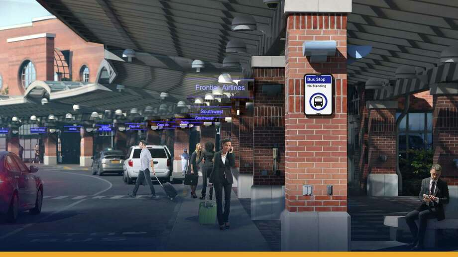 Rendering shows new signage on exterior of the Albany International Airport main terminal. Photo: State Department Of Transportation