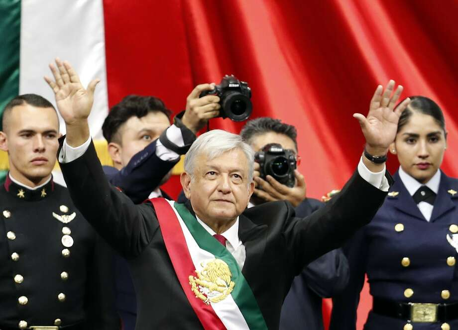 Mexico's new President Andres Manuel Lopez Obrador greets the crowd at the end of his inaugural ceremony at the National Congress in Mexico City, Saturday, Dec. 1, 2018.  CONTINUE to see Texas pipeline projects.  Photo: Eduardo Verdugo, Associated Press