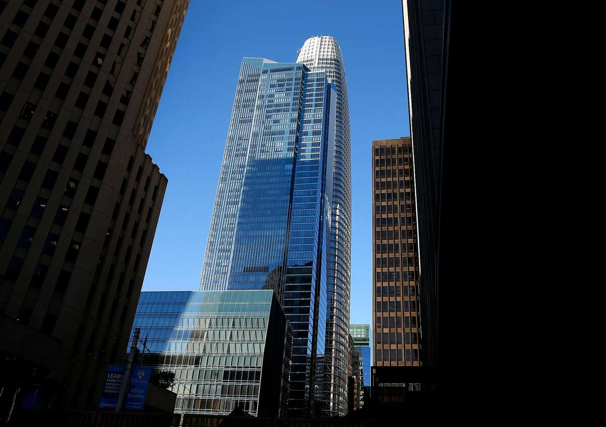 The Millennium Tower is seen in front of Salesforce Tower in San Francisco, Calif. on Tuesday, March 27, 2018. Engineers may begin preliminary work soon to stabilize the sinking and leaning Millennium Tower.