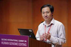 He Jiankui, a Chinese researcher, speaks Wednesday during the Human Genome Editing Conference in Hong Kong. He made his first public comments about his claim to have helped make the world's first gene-edited babies.