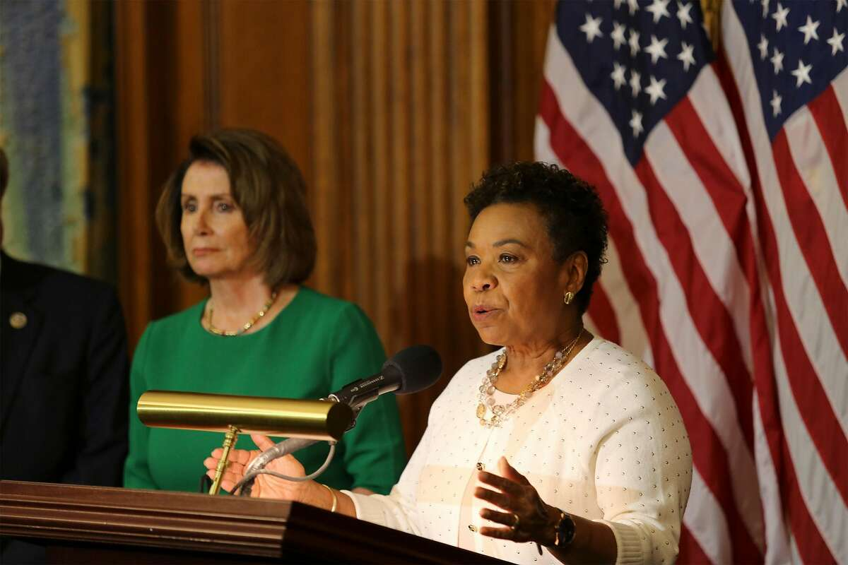 Washington, DC, United States of America - U.S. Congresswoman Rep. Barbara Lee of California joins Democrats to speak about President Donald Trumps first 100 days in office during a news conference on Capitol Hill April 28, 2017 in Washington, DC. (Us Congress/Planet Pix/ZUMA Wire)