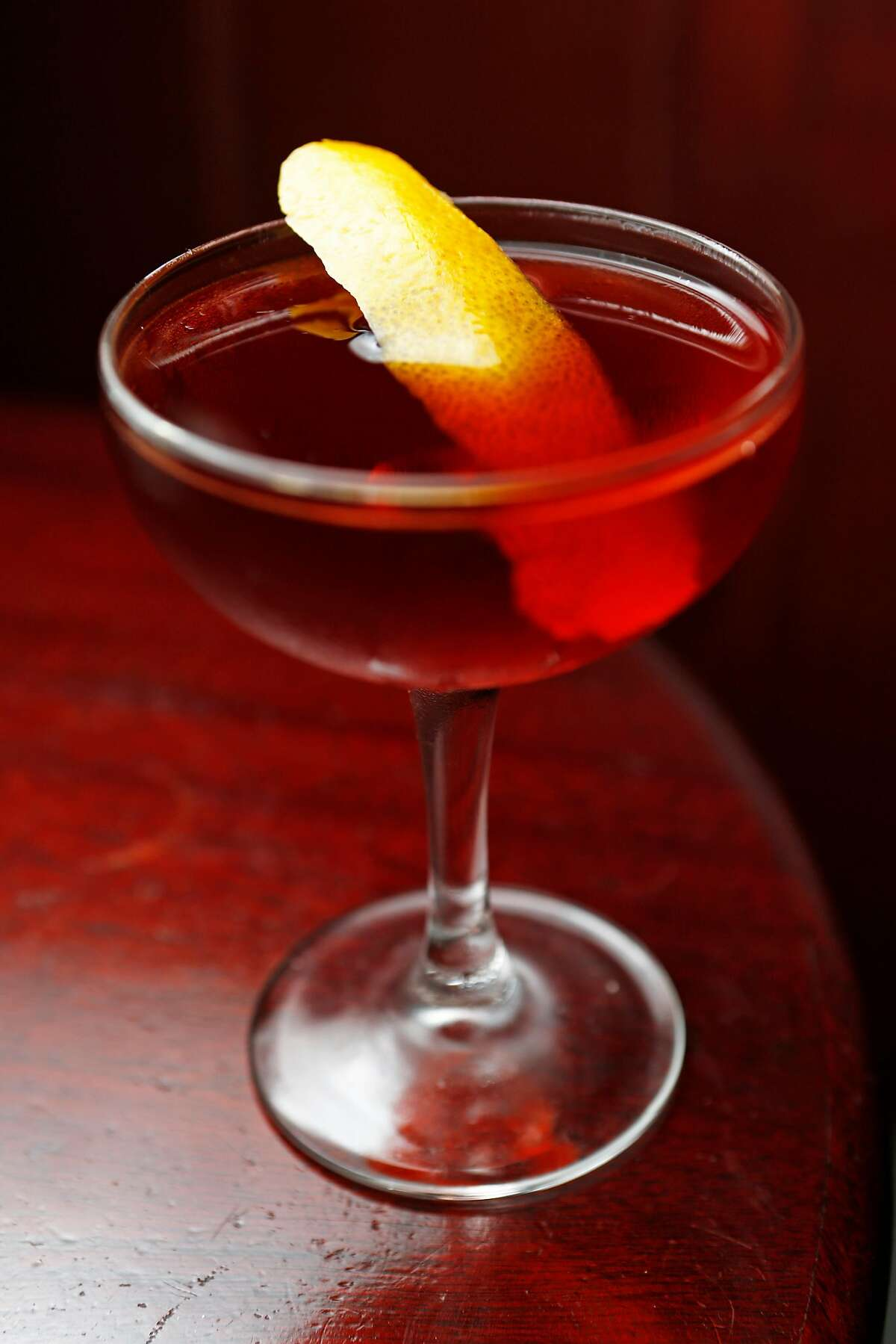 The Boulevardier cocktail at Tony Nik's bar and lounge on Wednesday, Nov. 28, 2018, in San Francisco, Calif. Tony Nik's is located at 1534 Stockton St.