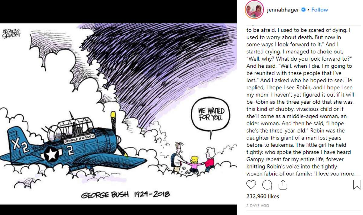 PHOTOS: Barbara and George H.W. Bush: A love story George H.W. Bush's granddaughter, Jenna Bush Hager, shared a heartfelt message via Instagram following the former president's death Friday. >>> See moments from George and Barbara Bush's 73-year marriage.
