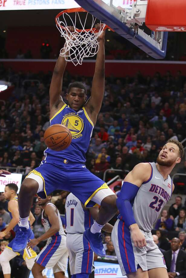 At 6-foot-9, the Warriors' Kevon Looney is undersized for a center, but he'll be getting more playing time at the position for a while after teammate Damian Jones tore a chest muscle. Photo: Gregory Shamus / Getty Images / 2018 Getty Images