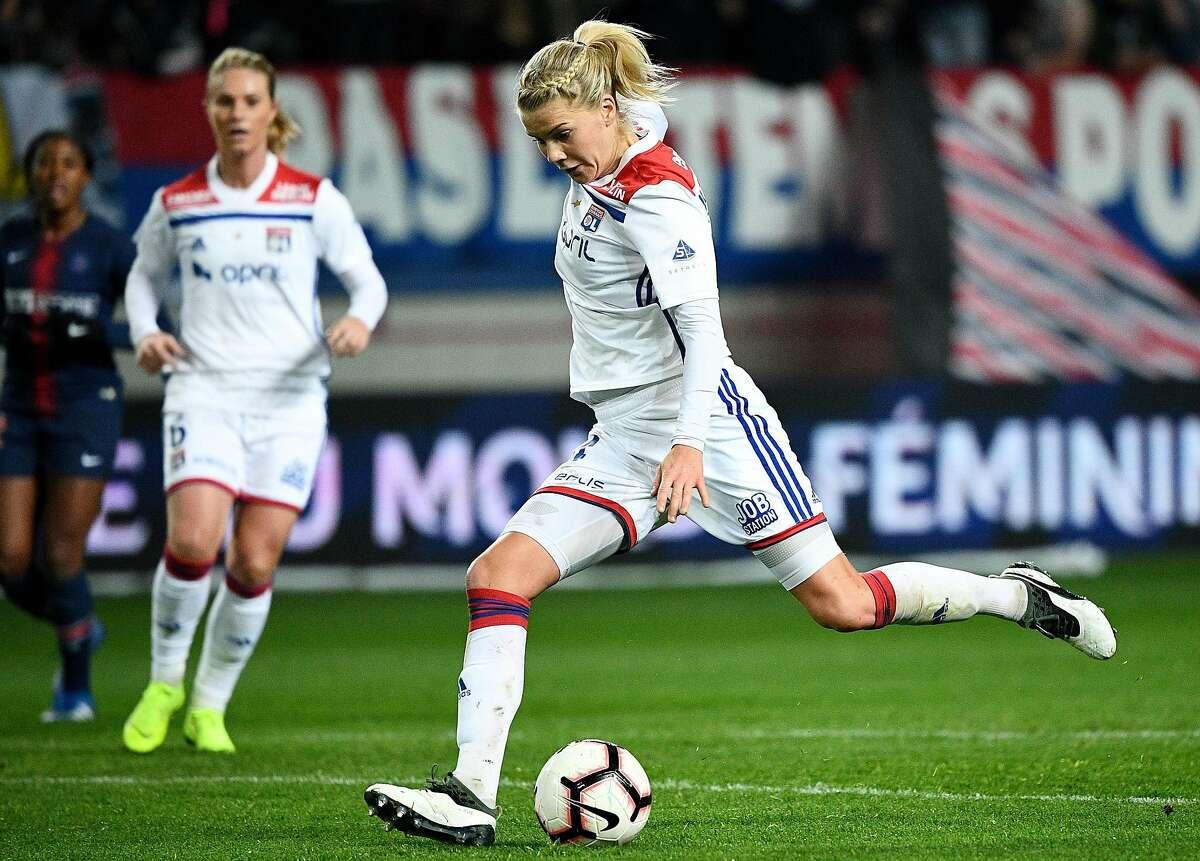 Lyon's Norwegian forward Ada Hegerberg kicks the ball during the French Women's D1 football match between Paris Saint-Germain (PSG) and Lyon (OL) at the Jean Bouin Stadium in Paris on November 18, 2018. (Photo by FRANCK FIFE / AFP)FRANCK FIFE/AFP/Getty Images