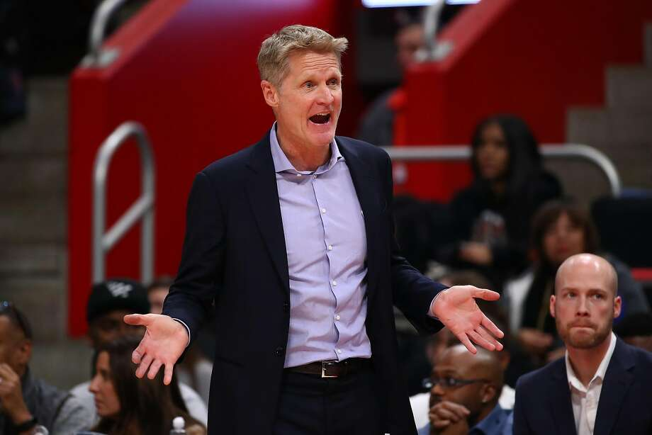 DETROIT, MICHIGAN - DECEMBER 01: Head coach Steve Kerr of the Golden State Warriors look on while playing the Detroit Pistons at Little Caesars Arena on December 01, 2018 in Detroit, Michigan. Detroit won the game 111-102. NOTE TO USER: User expressly acknowledges and agrees that, by downloading and or using this photograph, User is consenting to the terms and conditions of the Getty Images License Agreement. (Photo by Gregory Shamus/Getty Images) Photo: Gregory Shamus / Getty Images