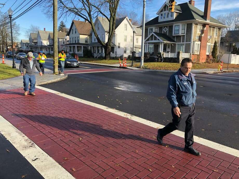 Mayor David Cassetti and Public Works Superintendent Mike D'Alessio do a walk-through along Wakelee Avenue Monday. Photo: Contributed Photo / Ansonia City Hall