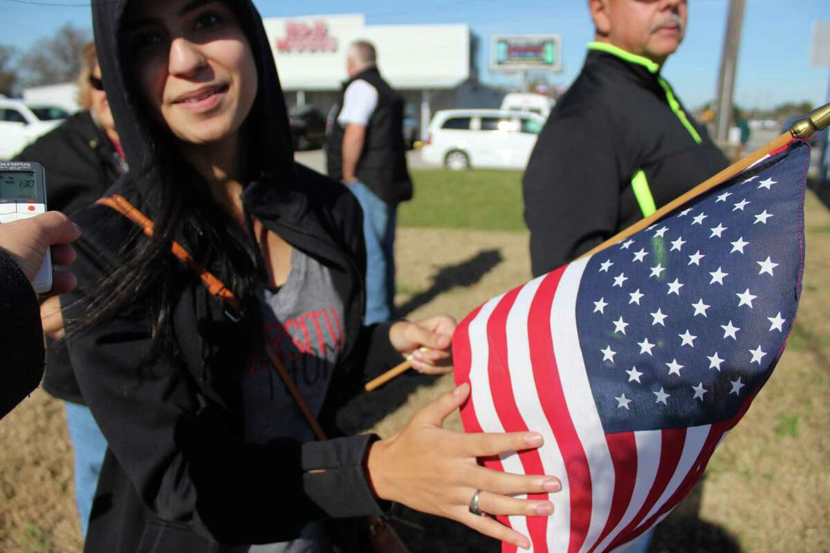 Alanna Tristan, 23, came to Ellington Airport to pay her respects to a public servant.