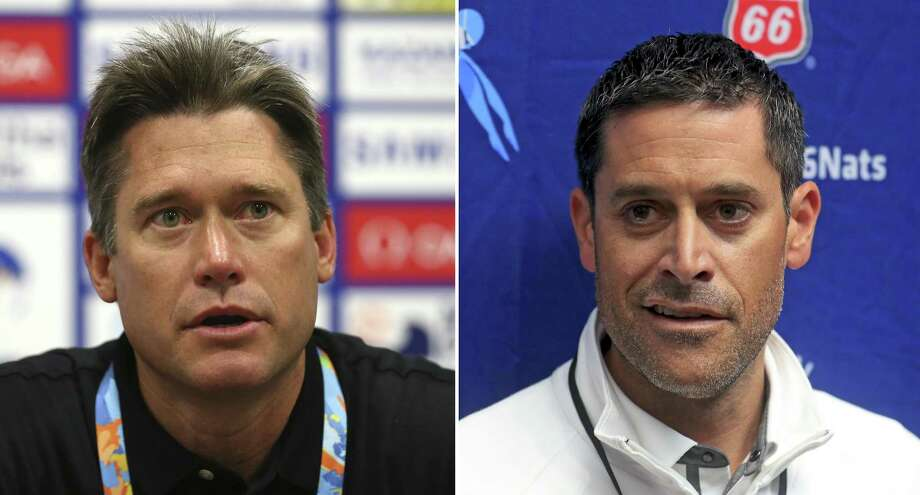 (Left) Men's head coach David Durden attends a United States Swim Team press conference on day seven of the 16th FINA World Championships at the Kazan Arena on July 31, 2015 in Kazan, Russia. (Photo by Streeter Lecka/Getty Images) ; IGreg Meehan, United States head coache for the upcoming FINA World Championships, talks with the media during the 2017 Phillips 66 National Championships & World Championship Trials at Indiana University Natatorium on July 1, 2017 in Indianapolis, Indiana. (Photo by Tom Pennington/Getty Images) Photo: Streeter Lecka / Getty Images ; Tom Pennington / Getty Images