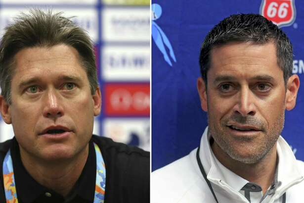(Left) Men's head coach David Durden attends a United States Swim Team press conference on day seven of the 16th FINA World Championships at the Kazan Arena on July 31, 2015 in Kazan, Russia. (Photo by Streeter Lecka/Getty Images) ; IGreg Meehan, United States head coache for the upcoming FINA World Championships, talks with the media during the 2017 Phillips 66 National Championships & World Championship Trials at Indiana University Natatorium on July 1, 2017 in Indianapolis, Indiana. (Photo by Tom Pennington/Getty Images)