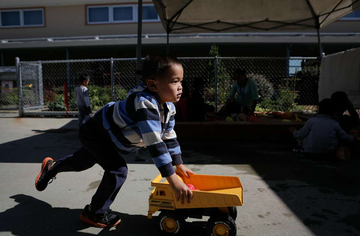 Tim Li plays during a Kidango preschool session at Corvallis Elementary School in San Lorenzo, California, on Friday, June 12, 2015. Kidango operates a year-round preschool at Corvallis Elementary. California lawmakers will vote Monday on a state budget that includes expanding subsidized preschool.