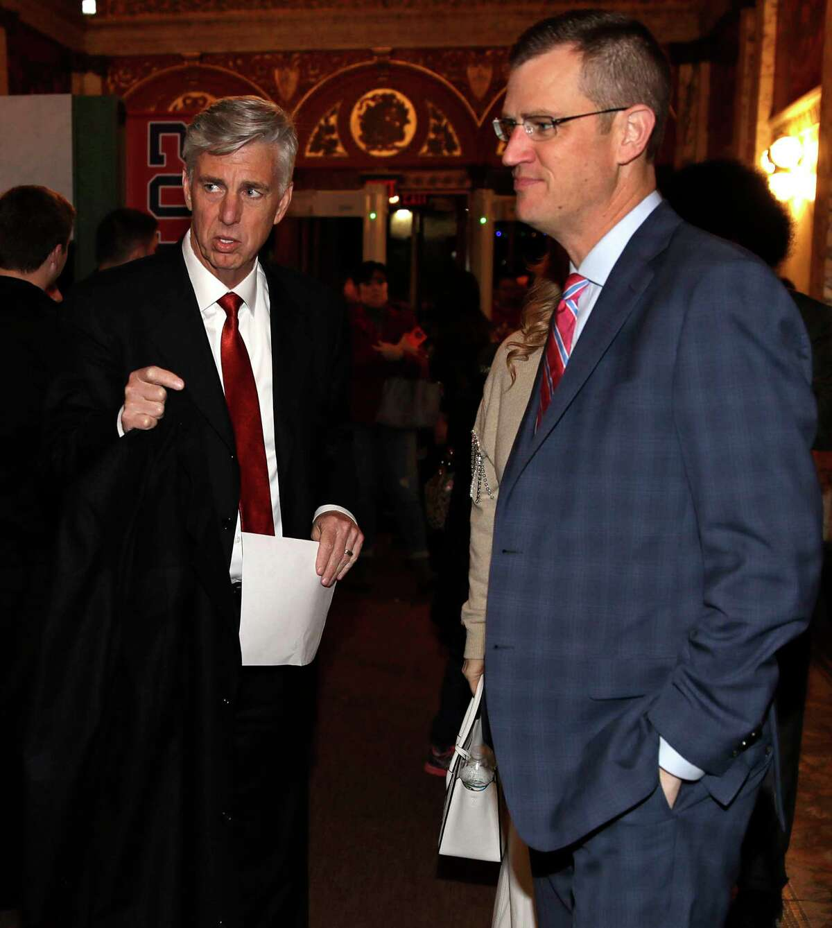 Boston Red Sox CEO Sam Kennedy, right, and Dave Dombrowski, left, the team's president of baseball operations, arrive for the premiere of