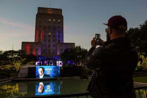 Setup continues at City Hall for a tribute to President George H.W. Bush in Houston, Monday evening, Dec. 3, 2018 in Houston.