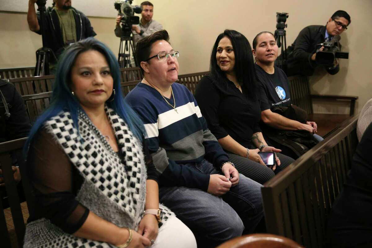 """The """"San Antonio Four"""" - from left, Elizabeth Ramirez, Kristie Mayhugh, Cassandra Rivera and Anna Vasquez - are shown in court on Dec. 3, 2018, when Bexar County 175th Criminal District Court Judge Catherine Torres-Stahl handed out orders to expunge their records. On Sunday, they will announced they will commemorate the anniversary of their exoneration with a Dec. 13 event to raise funds for The Innocence Project of Texas."""