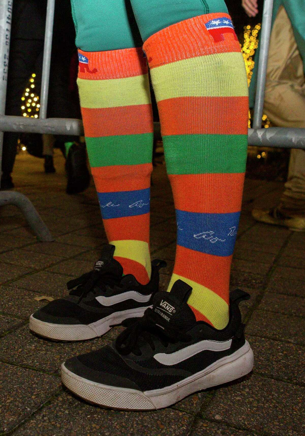 Lorie Fortson wears George H.W. Bush socks during a tribute to President George H.W. Bush at City Hall in Houston, Monday, Dec. 3, 2018 in Houston.
