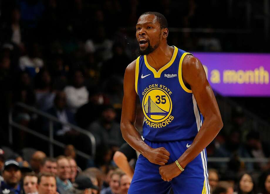Kevin Durant #35 of the Golden State Warriors reacts against the Atlanta Hawks at State Farm Arena on December 3, 2018 in Atlanta, Georgia.  Photo: Kevin C. Cox, Getty Images