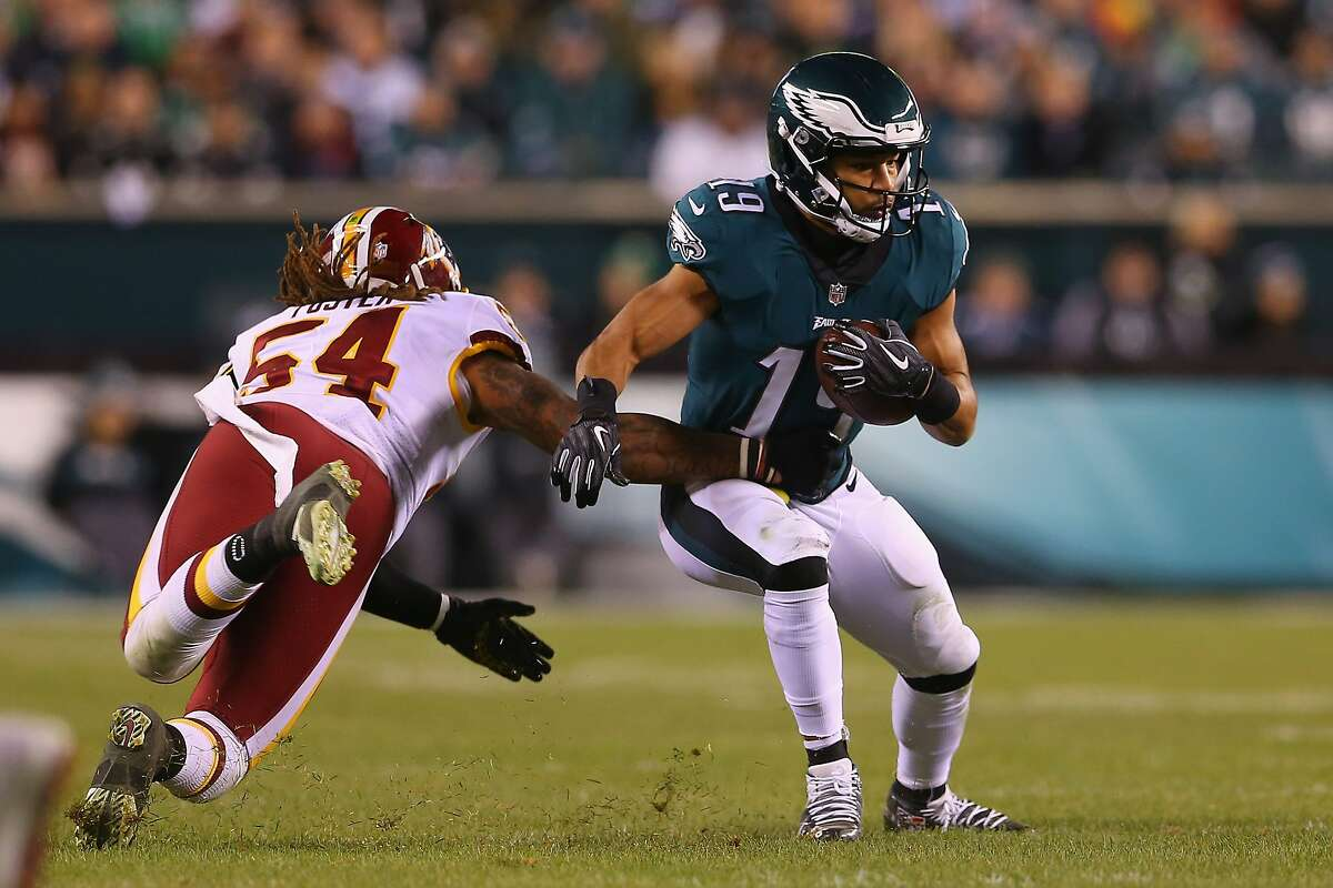 PHILADELPHIA, PA - DECEMBER 03: Wide receiver Golden Tate #19 of the Philadelphia Eagles runs by linebacker Mason Foster #54 of the Washington Redskins during the second quarter at Lincoln Financial Field on December 3, 2018 in Philadelphia, Pennsylvania. (Photo by Mitchell Leff/Getty Images)