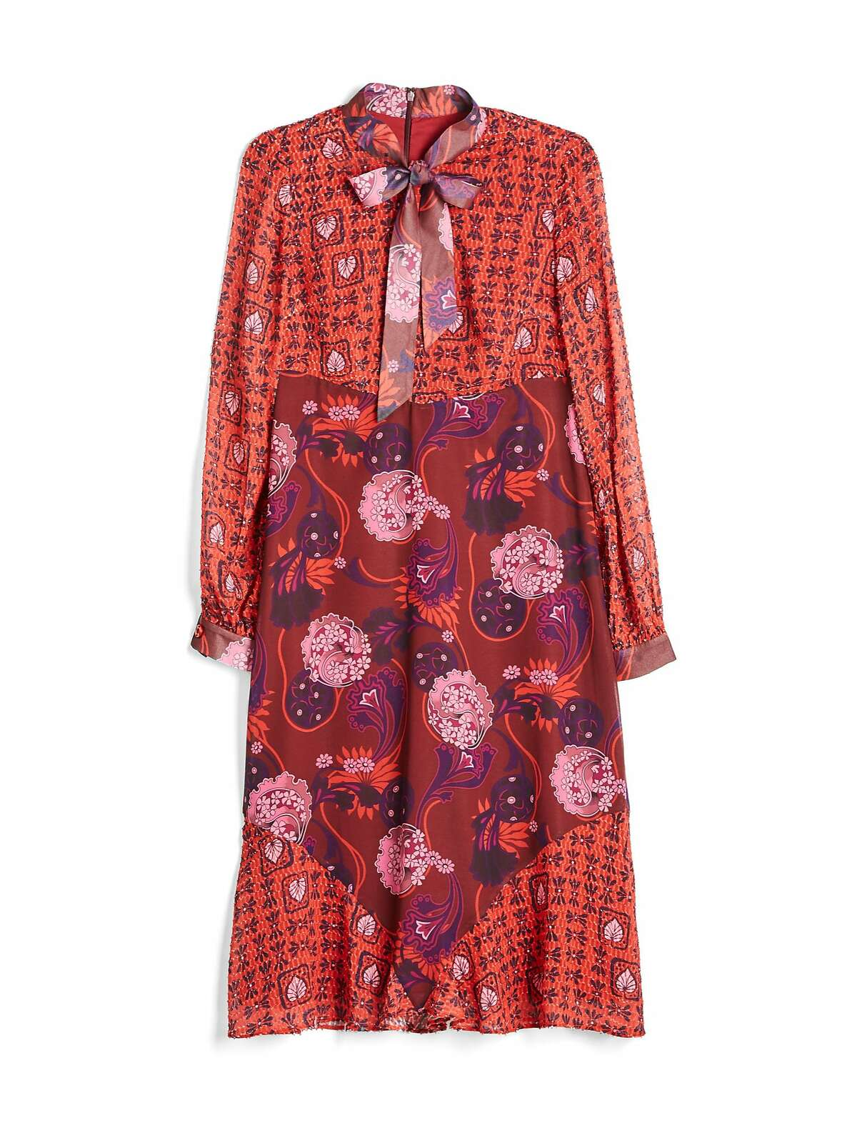 The Anna Sui for Modcloth print mixed tie-neck chiffon dress ($150).