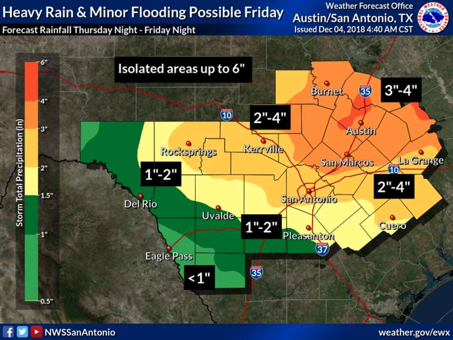 Heavy showers could cause minor flooding in Bexar County on Friday, according to the National Weather Service. Photo: National Weather Service