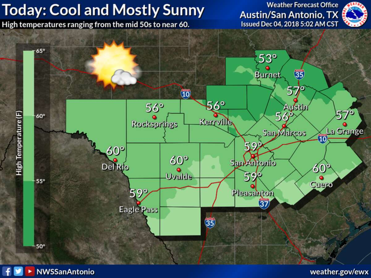 Tuesday should remain mostly sunny and cool, with temperatures in the upper 50s and lower 60s.