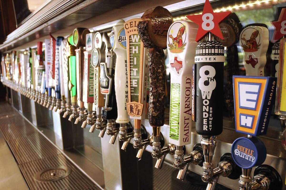 Beer taps at Jack & Ginger's Irish Pub at 2416 Brazos in Midtown.