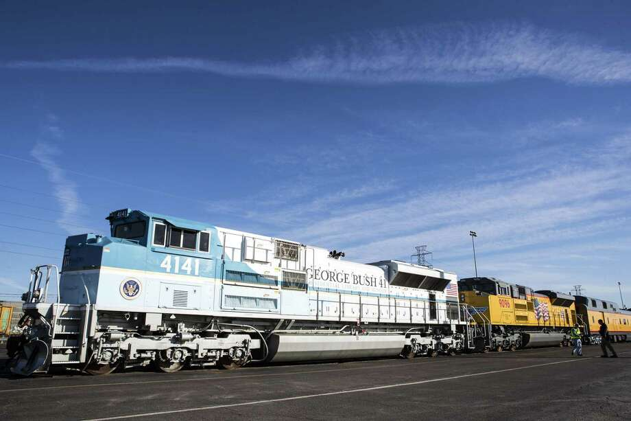 The Union Pacific 4141 George Bush 41 Locomotive is prepared for service on Monday, Dec. 3, 2018, in Spring, Texas. UP 4141 will pull Union Pacific's Haritage passenger rail cars and the Counil Bluffs car, the car that will carry former President George H.W. Bush's remains to College Station for burial. Photo: Brett Coomer, Houston Chronicle / Staff Photographer / © 2018 Houston Chronicle