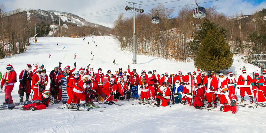 Whiteface Mountain in the Adirondacks is hosting Santas Ski Free Day on Sunday, Dec. 9, 2018. For a free lift ticket to ski or ride the Olympic mountain, arrive by 10 a.m., dressed as Mr. or Mrs. Claus and participate in a group photo. (Courtesy of Whiteface Mountain) Photo: Courtesy Of Whiteface Mountain