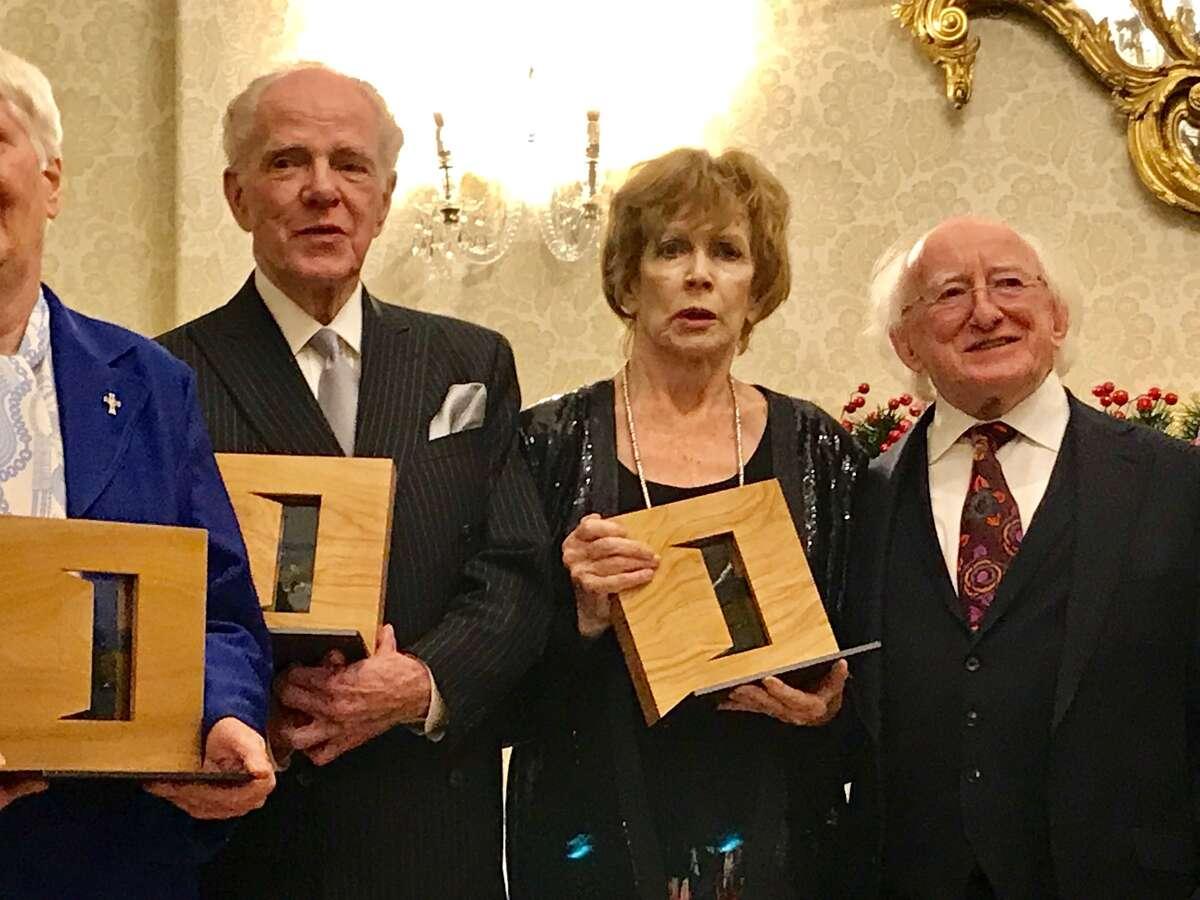 William Kennedy, the Irish novelist Edna O?'Brien and President Higgins on Thursday, Nov. 29, 2018