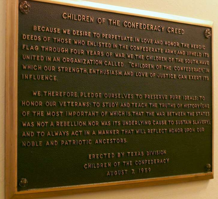 SPECIAL TO THE HOUSTON CHRONICLE...TXHOU..This is a view of the plaque bearing the Children of the Confederacy Creed mounted in a hallway inside the Texas Capitol on Friday, July 7, 2000, in Austin, Texas. (AP Photo)