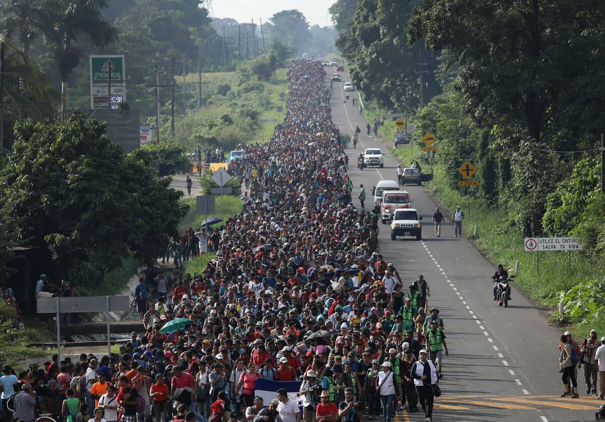 Migrant caravan A migrant caravan walks into the interior of Mexico after crossing the Guatemalan border on October 21, 2018 near Ciudad Hidalgo, Mexico The caravan of Central Americans plans to eventually reach the United States. U.S. President Donald Trump has threatened to cancel the recent trade deal with Mexico and withhold aid to Central American countries if the caravan.