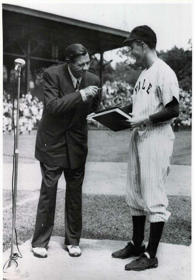 "George H.W. Bush welcomes ""Babe"" Ruth at a pre-game ceremony at the Yale University Field in June 1948. Bush was then captain of the 1948 varsity team. It was one of Ruth's last public appearances as he died later that summer. The photo notes it was donated to the New Haven Register on May 31, 1991 by the Yale University Office of Official Affairs. Photo: Contributed Photo"