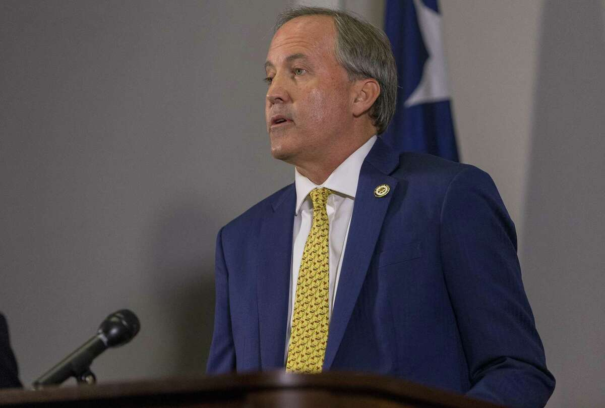 Texas Attorney General Ken Paxton conducts a press conference in his office in downtown Austin, Tuesday, May 1, 2018. (Stephen Spillman / for Express-News)